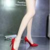 รองเท้าคัทชูส้นสูงสีแดง หัวแหลม หนังแก้ว ทรงสุภาพ เรียบง่ายดูดี ใส่ทำงาน ส้นสูง8cmแฟชั่นเกาหลี