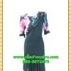 2553ชุดแซกทำงาน เสื้อผ้าคนอ้วนคอกลมสีดำแต่งระบายโค้งด้านหน้าพร้อมแขนลายดอกไม้สวมใส่ออกงานหรูหรา