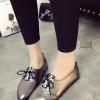 รองเท้าคัทชูผู้หญิงสีเงิน ส้นเตี้ย หัวแหลม แบบเชือกผูก หนังPU แนววินเทจ แฟชั่นเกาหลี