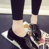 รองเท้าคัทชูผู้หญิงสีดำ หัวแหลม หนังแก้ว แบบเชือกผูก ทรงคลาสสิค เรียบง่ายดูดี แฟชั่นเกาหลี