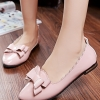 รองเท้าคัทชูส้นแบนสีชมพู หัวแหลม แต่งโบว์ ขอบแบบลอน วัสดุPU สไตล์หวาน น่ารัก แฟชั่นเกาหลี