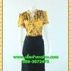 668เสื้อผ้าคนอ้วน ชุดทำงานลายเหลืองผ้าวาเลนติโน่พิมพ์ลาย คอจีนแต่งระบายโดดเด่นบริเวณคอต่อกระโปรงดำสไตล์สาวมั่น คล่องตัวและแตกต่าง