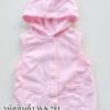 เสื้อแขนกุดสีชมพูมีฮู๊ดผ้าสำลี ไซด์ 9เดือน
