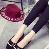 รองเท้าคัทชูส้นเตี้ยสีดำ หัวแหลมแต่งแผ่นโลหะ หนังกำมะหยี่ ทรงสุภาพ ใส่ทำงาน แฟชั่นเกาหลี