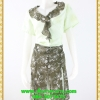 3096ชุดเดรสทำงาน เสื้อผ้าคนอ้วนคอพวงระบายสีเขียวขี้ม้าลายดอกขาวกระโปรงทรงเอผ่าขาดด้านหน้าซ้อนชิ้นใน2ชั้น