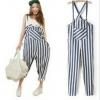 สินค้าพร้อมส่งค่ะ) ชุดแฟชั่นเอี้ยมกางเกงขายาวเกาหลี ผ้ายีนส์ลายริ้ว ดีไซด์น่ารัก – สี Dark Blue
