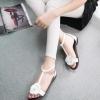 รองเท้าแตะผู้หญิงสีขาว รัดส้น แต่งดอกไม้ แนวย้อนยุค คลาสสิค แฟชั่นเกาหลี
