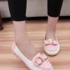 รองเท้าคัทชูส้นเตี้ยสีชมพู ประดับโบว์ฝังเพชร หนังPU พื้นยาง หรูหรา แฟชั่นเกาหลี