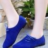 รองเท้าคัทชูส้นเตี้ยสีน้ำเงิน หนังนิ่ม หัวแหลม แบบเชือกร้อยด้านข้าง เก๋ไก๋ ทรงทันสมัย แฟชั่นเกาหลี