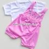 ชุดเอี้ยม+เสื้อ ลายแมวสีชมพู 0-3เดือน