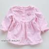 เสื้อคอกลมผ้าสำลี สีชมพูลายจุดเทา ไซด์ 6-9,12 เดือน