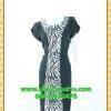 2560ชุดทํางาน เสื้อผ้าคนอ้วนคอกลมดอกตัดต่อพิ้นช่วงข้างลำตัวปรับสรีระให้บางและพรางรูปร่างเทรนด์คลาสสิคสีดำมีซับใน