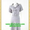2776ชุดทํางาน เสื้อผ้าคนอ้วนชุดผ้าวูลพีซปกฮาวาย แต่งพื้นสลับลายกระโปรงย้วย สไตล์หวานเรียบร้อย