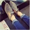 รองเท้าคัทชูผู้หญิงสีเทา ทำจากหนัง หัวแหลม มีเข็มขัดรัดข้อเท้า ส้นสูง2.3ซม. แฟชั่นเกาหลี