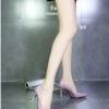รองเท้าคัทชูส้นสูงสีนู๊ด หัวแหลม หนังแก้ว ทรงสุภาพ เรียบง่ายดูดี ใส่ทำงาน ส้นสูง8cmแฟชั่นเกาหลี