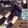 รองเท้าคัทชูผู้หญิงสีดำ ส้นสูง พื้นหนา แบบเชือกผูก ส้นสูง5ซม. แฟชั่นเกาหลี