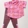 Laura Ashley เสื้อเชิ้ตสีชมพูลายดอกไม้+กางเกง ไซด์ 12 เดือน