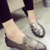 รองเท้าคัทชูผู้หญิงสีเงิน หัวแหลม แต่งซิปข้าง แบบสวม แนววินเทจ แฟชั่นเกาหลี