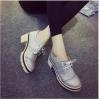 รองเท้าคัทชูผู้หญิงสีเทา หัวกลม ส้นสูง แนววินเทจ ส้นสูง7ซม. แฟชั่นเกาหลี