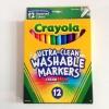 Crayola Ultra Clean Washable Markers Color Max (Fine Line) สีเมจิกแบบหัวแหลม ล้างออกได้ มี 12 สี แท่งเล็ก ปลอดสารพิษ
