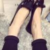 รองเท้าคัทชูส้นแบนสีดำ หัวเหลี่ยม แต่งโบว์ ทรงอาซาคุจิ หนังไมโครไฟเบอร์ สไตล์หวาน แฟชั่นเกาหลี