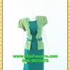 2366ชุดแซกทำงาน เสื้อผ้าคนอ้วน คอกลมผ้าลายคลุมแขนสั้นสีเขียวชั้นนอกสไตล์เนี๊ยบเรียบง่าย