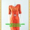 1974ชุดทํางาน เสื้อผ้าคนอ้วนสีส้มดุจทองสวยลุคหรูสง่างามคอวีโค้งรูปหัวใจโชว์เครื่องประดับสไตล์ออกงานเรียบหรู