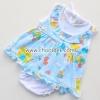 ชุดเด็กอ่อนหญิงผ้าคอตตอน คอระบายสีฟ้ายีราฟ ไซด์ 0-6 เดือน