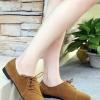 รองเท้าคัทชูส้นเตี้ยสีกากี หนังนิ่ม หัวแหลม แบบเชือกร้อยด้านข้าง เก๋ไก๋ ทรงทันสมัย แฟชั่นเกาหลี