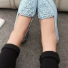 รองเท้าคัทชูส้นเตี้ยสีเขียว แบบสวม หัวประดับดอกไม้ฝังเพชร สไตล์หวาน น่ารัก แฟชั่นเกาหลี