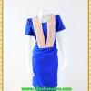 2869เสื้อผ้าคนอ้วน ชุดเดรสทำงานสีน้ำเงินแต่งชิ้นลอยตีเกล็ดสีครีมตีเกล็ดมีกระเป๋ากระโปรงล้วงซ้ายขวาสไตล์สาวมั่น
