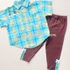 Laura Ashley เสื้อเชิ้ตสีฟ้าลายดอกไม้+กางเกง ไซด์ 12 เดือน