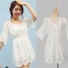Cherry Dress (สินค้าพร้อมส่งค่ะ) เสื้อแฟชั่นเกาหลี ตัวยาว แขนสามส่วน ผ้าฝ้ายเนื้อดี ปักฉลุหวานรอบตัว –- สีขาว