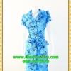 1558ชุดเดรสทำงาน เสื้อผ้าคนอ้วนปกเทเลอร์ใหญ่กระดุมหน้าลายดอกสีฟ้าสไตล์เนี๊ยบ ทรงสุภาพเป็นทางการสวมใส่ทำงาน