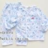 ชุดเสื้อผูกเชือกแขนยาวกางเกงขายาว ลานแมวเหมียว ก้างปลาสีฟ้า ไซด์ 0-3 เดือน