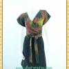1840ชุดเดรสทำงาน เสื้อผ้าคนอ้วนสีโค้กลายริ้วเข้มคอวีป้ายแขนสโลปเข้าได้ทุกวงแขน สไตล์เดรสสปอร์ตเรียบง่าย