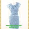 3068เสื้อผ้าคนอ้วน ชุดทำงานสไตล์ผ้าชีฟองคอกลมแขนล้ำสวยมั่นใจแบบสาวอวบโมเดิร์นล้ำ สีฟ้าลายช่องสี่เหลี่ยมเล็กสุดคลาสสิคติดหรูได้ทุกงาน