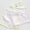 ไซด์ 12 เดือน ชุดเสื้อกล้ามกางเกง สีขาวลายดาว ขอบสีเขียว