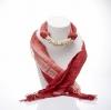 ผ้าพันคอสีแดงทูโทน ประดับหินฮาวไลท์