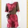 1916เสื้อผ้าคนอ้วน เสื้อผ้าแฟชั่นคอกลมแขนยาวแต่งระบายโค้งด้านหน้าสีสันสดใสเพิ่มความหวานด้วยกระโปรงจีบ