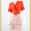 3128ชุดทํางาน เสื้อผ้าคนอ้วนชีฟองสีส้มแขน2ชั้นสไตล์หรูเบาสบายรับซัมเมอร์ คอผูกโบสไตล์สุภาพ เรียบร้อยกระโปรงลูกไม้ มีซับในสีสวยหวาน