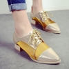 รองเท้าคัทชูผู้หญิงสีทอง หัวแหลม แบบเชือกผูก ส้นหนา แฟชั่นยุโรป