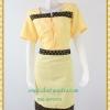 3202เสื้อผ้าคนอ้วน ชุดเดรสทำงานสีเหลืองแต่งลายด้านหน้าทรงเรียบเก๋ไม่เน้นลายมากใส่ง่ายสบายๆ