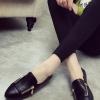 รองเท้าคัทชูผู้หญิงสีดำ หัวแหลม แต่งซิปข้าง แบบสวม แนววินเทจ แฟชั่นเกาหลี