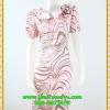 3083เสื้อผ้าคนอ้วน ชุดทำงานผ้าเครปเนื้อดีพิมพิ์ลายหลากสีคอปก ระบายม้วนกุหลาบด้านข้างเก๋สไตล์หวาน