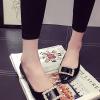 รองเท้าคัทชูส้นเตี้ยสีดำ หัวแหลม ประดับหัวเข็มขัดฝังเพชร หรูหรา วัสดุพียู สไตล์ญี่ปุ่น แฟชั่นเกาหลี
