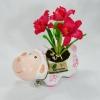 กระถางดอกไม้รูปแกะพร้อมดอกไม้ดินไทยดอกแคทลียาแดง
