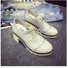 รองเท้าคัทชูผู้หญิงสีเบจ หัวกลม ส้นสูง แนววินเทจ ส้นสูง7ซม. แฟชั่นเกาหลี