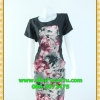 2435ชุดทํางาน เสื้อผ้าคนอ้วนคอกลมดอกตัดต่อพิ้นช่วงบ่าปรับสรีระให้บางและพรางรูปร่างเทรนด์คลาสสิคสีดำมีซับใน