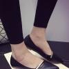 รองเท้าคัทชูส้นแบนสีดำ หัวแหลม หนังPU พื้นยาง แต่งโลหะสีทอง ทรงคลาสสิค เรียบง่าย ดูดี แฟชั่นเกาหลี